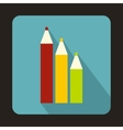 Three colored pencils icon in flat style vector image vector image