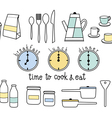 time to cook and eat flat icon vector image vector image
