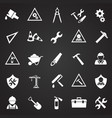 tools and construction set on black background vector image