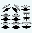 UFO flying saucer set icon vector image vector image