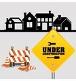 under construction sign with cone barrier traffic vector image vector image