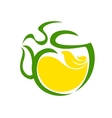 Very stylized cup of steaming tea with lemon vector image vector image