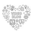 video blog heart concept blue linear vector image vector image