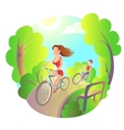 Young girl and the guy on a bike ride in the park vector image