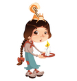 Young girl with squirrel and candle vector image