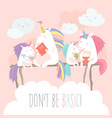 unicorn reading book with friends vector image