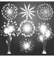 Firework bursting in various shapes sparkling vector image