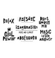 awesome relax imagination girl power lettering vector image vector image