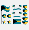 bahamas flag set collection of symbols flag vector image vector image