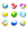beach ball striped rubber toy realistic set vector image