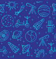 blue seamless pattern with space icons in thin vector image vector image