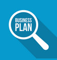 business plan word magnifying glass vector image