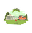 camping banner template car tent and barbecue vector image vector image