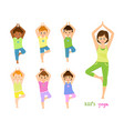 children do yoga with a yoga instructor vector image vector image