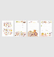 collection of recipe card or sheet templates for vector image