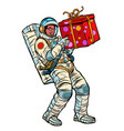 cosmonaut with gift box african american people vector image vector image