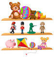 cute toys on wooden shelves vector image vector image