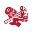 Dumbbell Anvil and Sledgehammer Retro vector image vector image