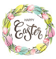 easter wreath with eggs hand drawn pink tulips on vector image vector image