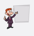 happy red hair businessman makes the gesture of vector image vector image