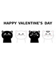 happy valentines day black white cat head face vector image vector image