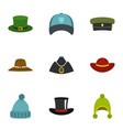 hat wear icon set flat style vector image vector image