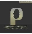 Letter P Broken mirror vector image vector image