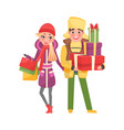 married couple shopping man and woman with packs vector image vector image