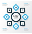 media colorful icons set collection of cogwheel vector image