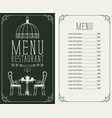 menu with price image of served table and chairs vector image