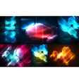 neon light effects abstract background set vector image