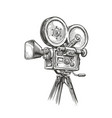 old fashioned movie film camera sketch video vector image