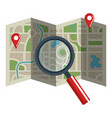 paper map guide with magnifying glass vector image