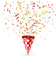 party shiny hat with ribbon and confetti holiday vector image