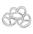 pretzel germany snacks in black and white vector image vector image