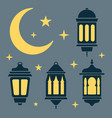 ramadan lantern moon and stars in black and white vector image