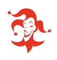 Red joker with a sly look and a smile vector image vector image