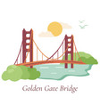 san francisco poster with golden gate bridge vector image