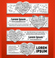set of horizontal romantic doodles banners vector image vector image