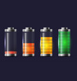 set of various types of transparent batteries vector image