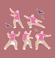 set stickers elderly woman exercising making vector image