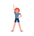 smiling sports fan girl wearing referee uniform vector image