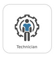 technician icon man and cog wheel engineering vector image