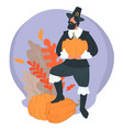 thanksgiving holiday pilgrim wearing hat holding vector image
