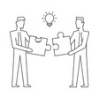 two businessmen join puzzle linear on vector image vector image