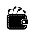 wallet with money stylish icon vector image