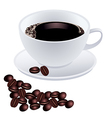 White cup of coffee with beans on white background vector image vector image