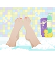Female feet in bathroom vector image
