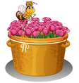 A bee with a pot of honey flying above the basket vector image vector image