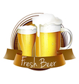 A fresh beer label with a pitcher and a glass of vector image vector image